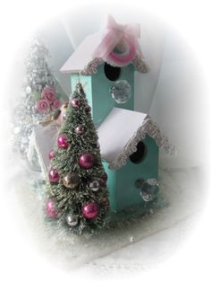 Shabby Sweet Christmas Aqua Triple Bird HOUSE by RoseChicFriends, $29.99