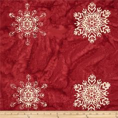 Bali Batiks Snowflake Panel Burgundy from @fabricdotcom  Designed for Hoffman International Fabrics, this Indonesian batik panel is perfect for quilting, craft projects, apparel and home décor accents. This panel measures approximately 36'' x 44'' and includes 12 snowflakes.  Each snowflake measures approximately 7'' x 7''.  Colors include shades of cream and shades of red.