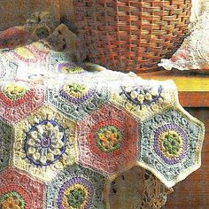 3 Vintage Hexagon Crochet Square Flower Motifs Afghan Pattern PDF Download