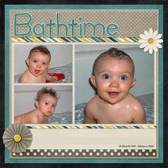 scrapbook layouts, babi scrapbook, scrapbook idea, scrapbooking layouts, bath time