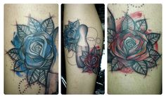 sketched red and blue rose tattoo done by Maxwell Alves - El Cuervo Ink - Curitiba/Brazil