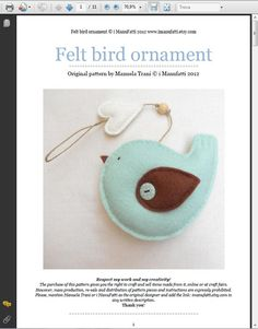 PDF pattern Felt bird with heart ornament Felt by iManuFatti