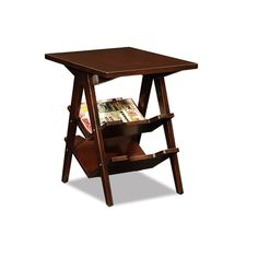 Chocolate Cherry Chevron Stacked Shelf End Table Leick Furniture End Tables Accent Tables