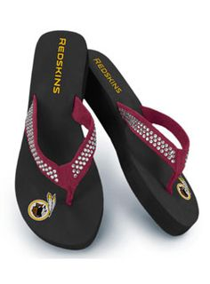 Ladies Rhinestone Redskins Flip Flops