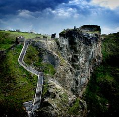 Steps leading up to Tintagel Castle in Cornwall