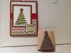 Christmas Tree carved by me, all other items used to make card are Stampin' Up products.  Love Undefined and this card!