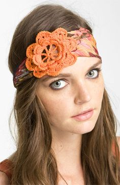 Cara Accessories 'Crochet Cutout Flower' Head Wrap | Nordstrom