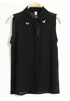 Solid Lapel Sleeveless Chiffon Shirt Black