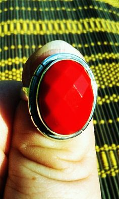 Size 7 Faceted Red Coral Ring by JewelsandClothes on Etsy, $35.00