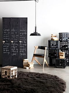 Salvaged & Repurposed: Vintage Lockers - use chalkboard paint!