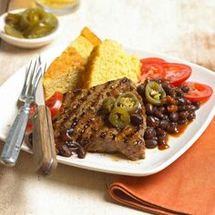 Flat Iron Steak with BBQ Beans is a solid meal that will be easy to eat and easy to make: http://www.bhg.com/recipes/beef/30-minutes-less/great-beef-dishes-in-30-minutes-or-less/?socsrc=bhgpin072414flatironsteak&page=7