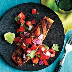 Pan-Grilled Salmon with Red Pepper Salsa - use prechopped veggies, and you'll have dinner in about 15 minutes.