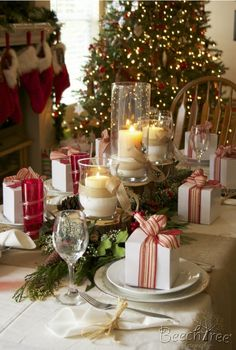 Christmas ~ Table Wrap the presents in brown paper with red ribbon and it would be perfect!