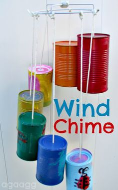 craft kids, camp, recycled cans, tins, wind chimes