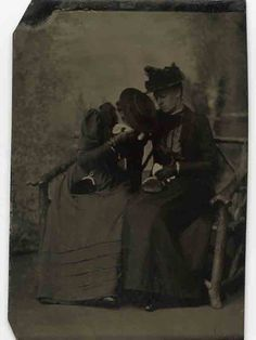 """""""Tintype  of Two Women in Mourning,"""" date unknown"""