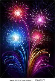 Colorful Fireworks In A
