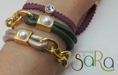 Pulseras cuero redondo, cadena dorada y perla…