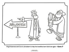 Kids coloring page from What's in the Bible? featuring Ezra. Volume 7: Exile and Return!
