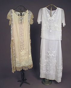 2 Embroidered Summer Tea Gowns, 1920s