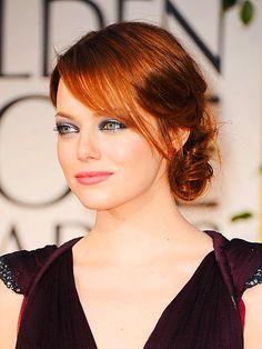 hair colors, eye makeup, red hair, emma stone, hair makeup, girl hairstyles, redhead, globe, bang