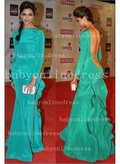 2014 Sexy Evening Dress Long Sleeve Jewel Neckline Backless Green Mermaid Sash Ruffles Formal Prom Dresses BO3089