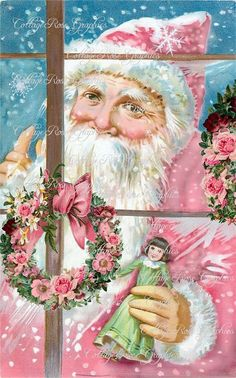He knows... pink santa, pink roses, vintage santas, pink christmas, dreams, window, children, cottages, friday nights