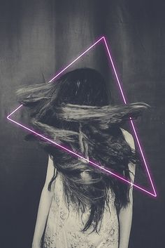 // neon // pink // triangle // hair // girl //                                                                                                                                                                                 More