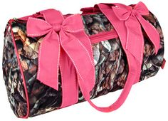"$14.00 14"" BNB Natural Camo™ Quilted Duffle Bag with Hot Pink Trim"