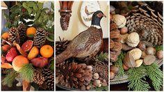 Nuts, pinecones, fruit, pheasant