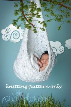 Hanging Cocoon Sling Stork Pouch KNITTING PATTERN in 3 by 4aSong, $4.00