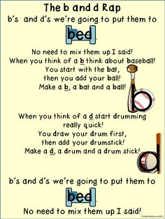 FREE b and d rap- help your students learn the correct way to write them, no more letter reversals for b and d