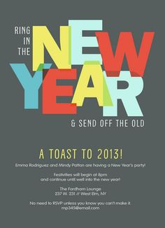 Ring in the New Year New Year's Invitation