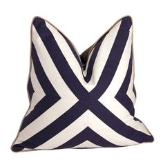 Deep Blue and White Patchwork X Pillow by CCDeuxVie on Etsy
