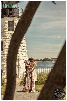 lighthouse wedding photo, wedding portraits, Boston Wedding Photographer. south asian wedding portraits
