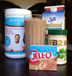 IdealShape Butterfinger Meal Replacement Smoothie - 1 Scoop Chocolate IdealShape Shake Mix - 8 oz. Unsweetened Almond Milk   - 2 Tbsp. of Butterscotch Pudding Mix - 2 Tbsp. of Peanut Butter (or use PB2 for less calories) - Ice Cubes   -   #IdealShape