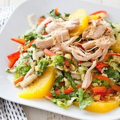 A much improved version of Chinese Chicken Salad. Make extra seasoned chicken to use on Sesame Noodles the next night.