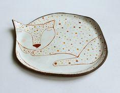 Sleepy cat ceramic plate with pastel polka dot by clayopera