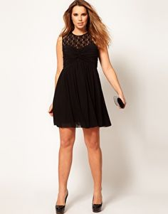 Skater Dress With Twist And Lace from ASOS Curve.  Plus size.