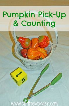 Pumpkin Pick-Up & Counting {Fine Motor Fridays} - Stir The Wonder #kbn #finemotor #FineMotorFridays