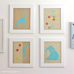 DIY Nursery Glittery Animal Stenciled Animal Print Wall Hangings