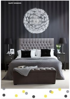 Gray. We have a huge globe chandelier in our bedroom like this. Love the striped wallpaper and upholstered headboard.