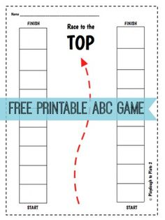 Fun, FREE Printable ABC Game: Race to the Top. {Playdough to Plato}