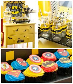 Superhero themed birthday party vis Kara's Party Ideas KarasPartyIdeas.com Cakes, favors, printables, decor, and MORE! #superheroparty #kara...