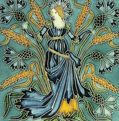 'Cornflower' tile, from - Flora's Retinue set - by Walter Crane, for Pilkington Tile & Pottery Co (1900's)