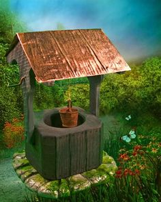 Miniature Wishing Well from Enchanted Gardens. LOVE the copper roof!