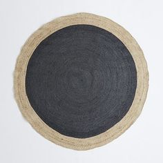 Bordered Round Slate Jute Rug