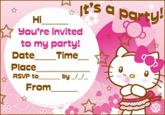 HELLO KITTY FREE PRINTABLE PARTY INVITATION - print it and then fill in the blanks with your own party details like date, time and RSVP info.