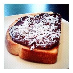This Australia Day, I give you....Lamington Toast! Chocolate spread on toast topped with shredded coconut