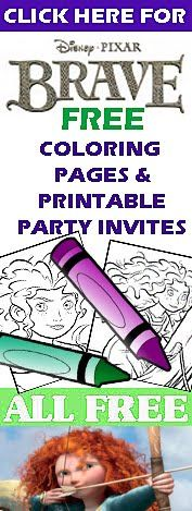 Disney Pixar's Brave - lots of free colouring pages and free, printable party invitations