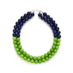 Lime Green Navy Blue Statement Necklace. Color Block by kluster, $128.00